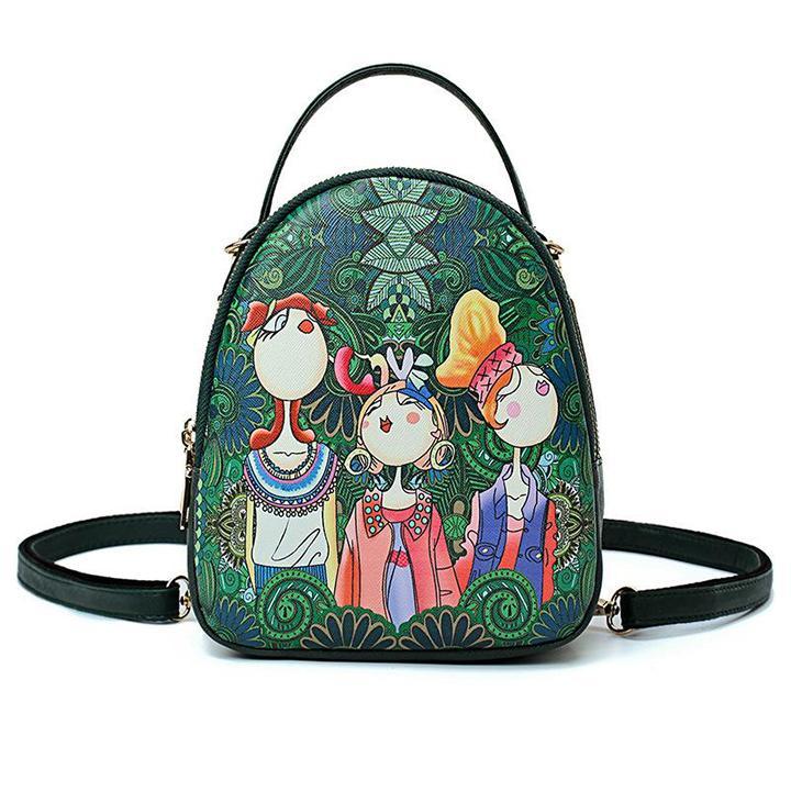 Hình ảnh Balo thời trang, balo đi học, Balo mini kết hợp túi đeo chéo thời trang Mỹ Nữ Rừng Xanh