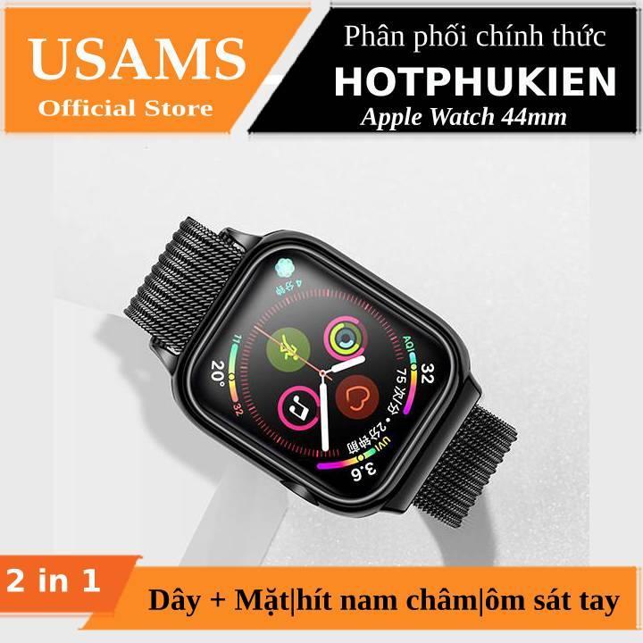 Dây đeo thay thế kèm khung viền bảo vệ cao cấp cho Apple Watch 44mm hiệu Usams (thiết kế tinh tế, lực hút nam châm mạnh mẽ, lịch lãm sang trọng) - Phân phối bởi Hotphukien