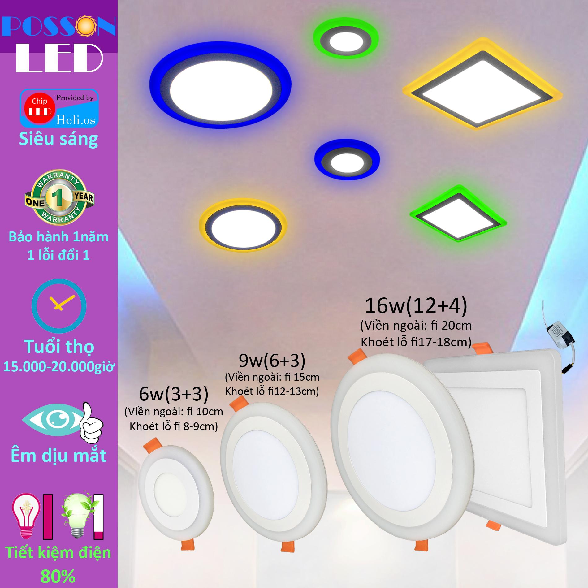 2 Đèn Led âm trần 9w ( 6w +3w) siêu mỏng tròn 2 màu 3 chế độ Posson  LP-Ri6+3x
