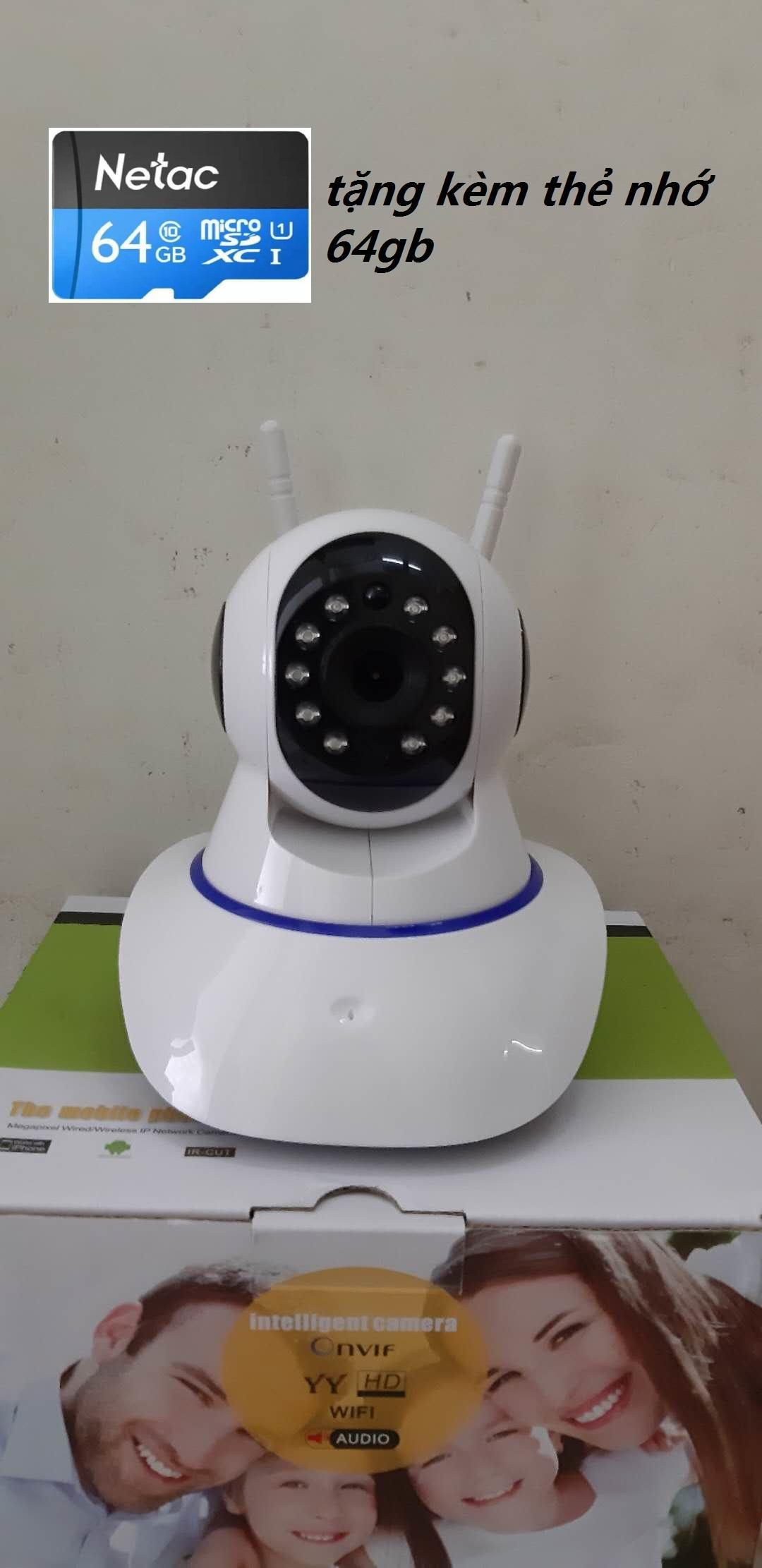 ( tặng thẻ nhớ 64gb) camera ip wifi 2 râu dùng app yoosee 720P quan sát trong nhà xem mọi lúc mọi nơi