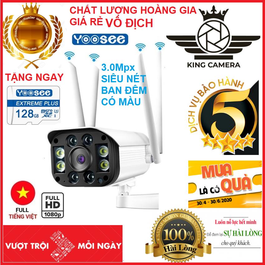 Hình ảnh TẶNG THẺ 128GB TRỊ GIÁ 450K CÓ BẢO HÀNH cho mã 520k và không thẻ với mã 420k Camera wifi chuẩn 3.0Mpx dùng ngoài trời - trong nhà full hd 1080p- GIÁM SÁT NÀY ĐÊM - hỗ trợ 4 đèn hồng ngoại và 4 đèn led BẢO HÀNH 5 NĂM