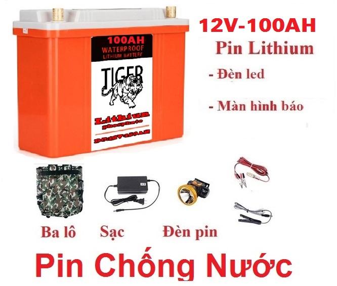 Pin Lithium 100Ah chống nước hoàn toàn tuyệt đối 100%