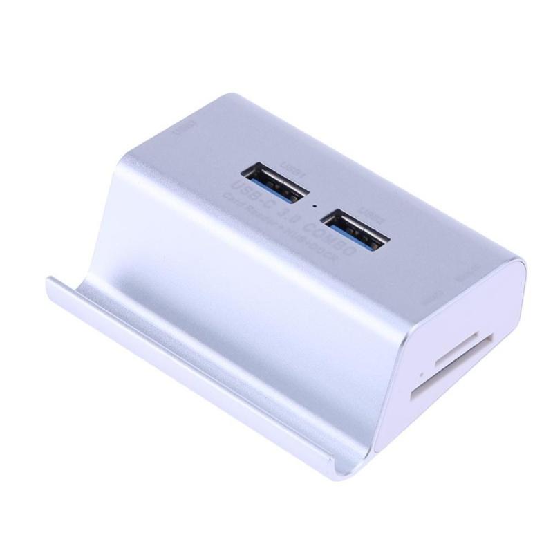 Bảng giá 3 in 1 USB 3.0 OTG Adapter+ High Speed Card Reader+ Desk Phone Holder Stand (Silver) - intl Phong Vũ
