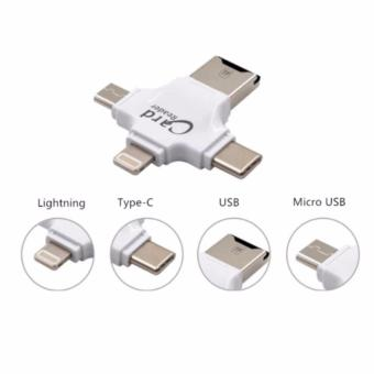 4 In 1 USB Type-C and USB 2.0 and Micro USB and 8 Pin TF Card Reader For MacBook, PC, Laptop, Smart Phone With OTG Function, Support FAT32 and ExFAT (Black) - intl