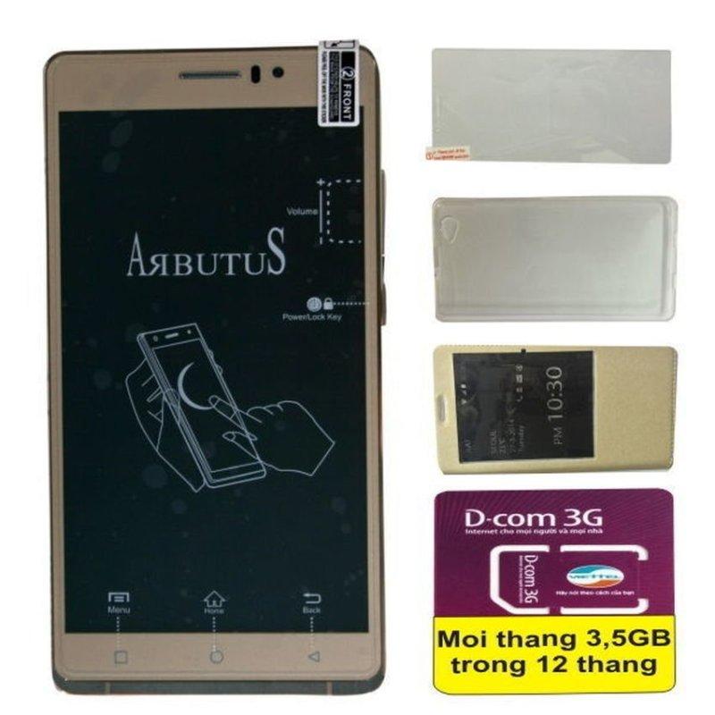 Arbutus AR6 Plus 8GB (Vàng kim) + Bao da + Kính Cường lực + Sim 3G