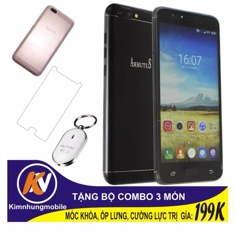 Arbutus Max Plus 16GB + Cường lực + Ốp lưng Kim Nhung (Đen) - Hàng nhập khẩu + Móc khóa huýt sáo thông minh
