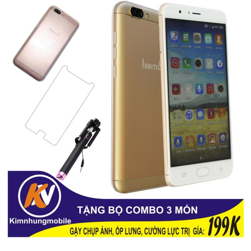 Arbutus Max Plus 16GB + Cường lực + Ốp lưng Kim Nhung (Vàng) - Hàng nhập khẩu + Gậy chụp ảnh