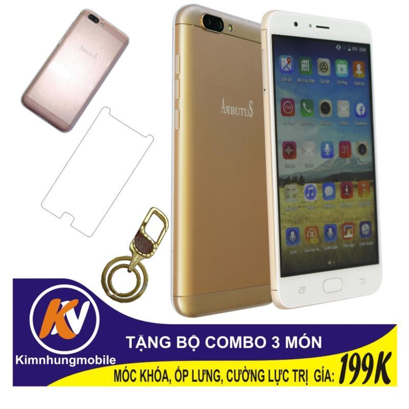 Arbutus Max Plus 16GB + Cường lực + Ốp lưng Kim Nhung (Vàng) - Hàng nhập khẩu + Móc khóa cao cấp