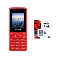 Bộ 1 ĐTDĐ Philips E103 4MB 2 Sim (Đỏ) – Hãng phân phối chính thức + 1 Thẻ nhớ MicroSD 8GB Class 4