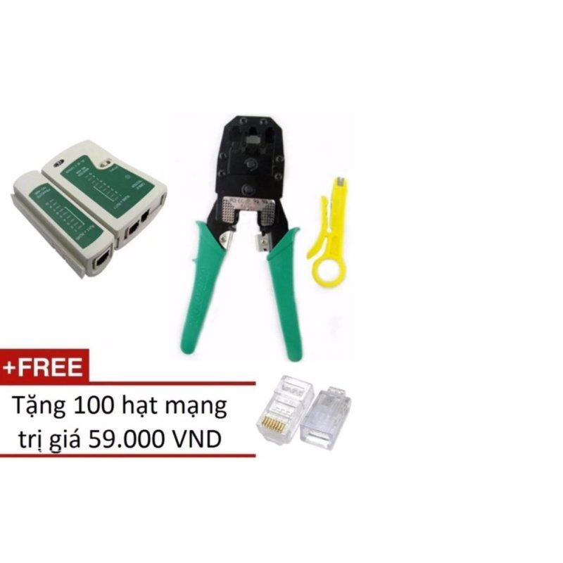 Bảng giá Bộ 1 Hộp test mạng đa năng RJ45 + 1 Kìm bấm mạng đa năng + Tặng 100 hạt mạng Phong Vũ