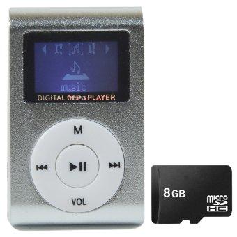 Bộ 1 Máy nghe nhạc MP3 có màn hình LCD kiểu kẹp (Bạc) và 1 thẻ nhớ8GB