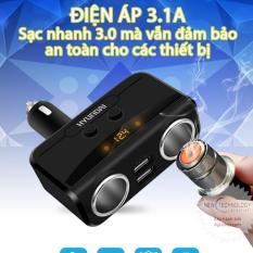 Bộ chia tẩu sạc oto, xe hơi (Loại tốt) HYUNDAI (bán chạy) 2 tẩu 2 USB (đen)