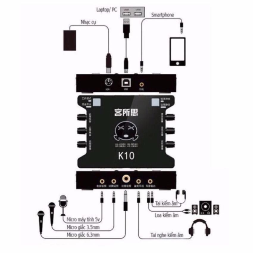Bộ Combo Thu Âm XOX K10 + Mic BM800 + Kẹp + Màng Lọc + Dây Live