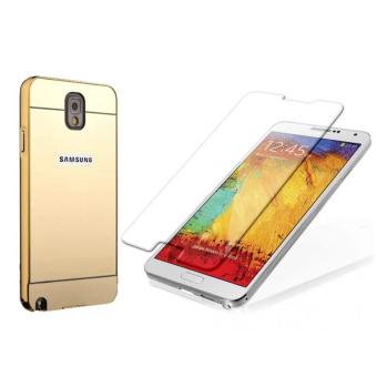 Bộ dán kính cường lực và ốp lưng Samsung Galaxy Note 3 gương (Vàng)