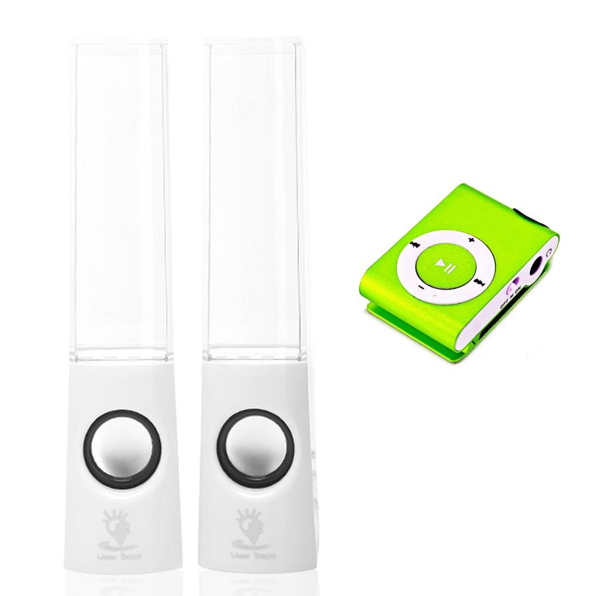 Hình ảnh Bộ loa nhạc nước 3D (Trắng) + Máy nghe nhạc MP3 vỏ nhôm PeepVNCombo74 (xanh lá)