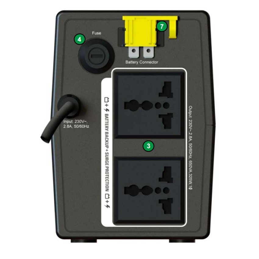 Bộ Lưu Điện APC Back-UPS BX650LI-MS 650VA / 325W (Đen)