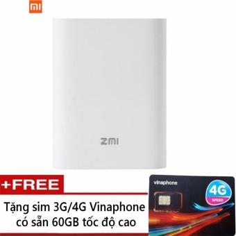Bộ phát wifi kiêm sạc dự phòng xiaomi MF855 + Sim 4G Vinaphone có sẵn 60GB/tháng