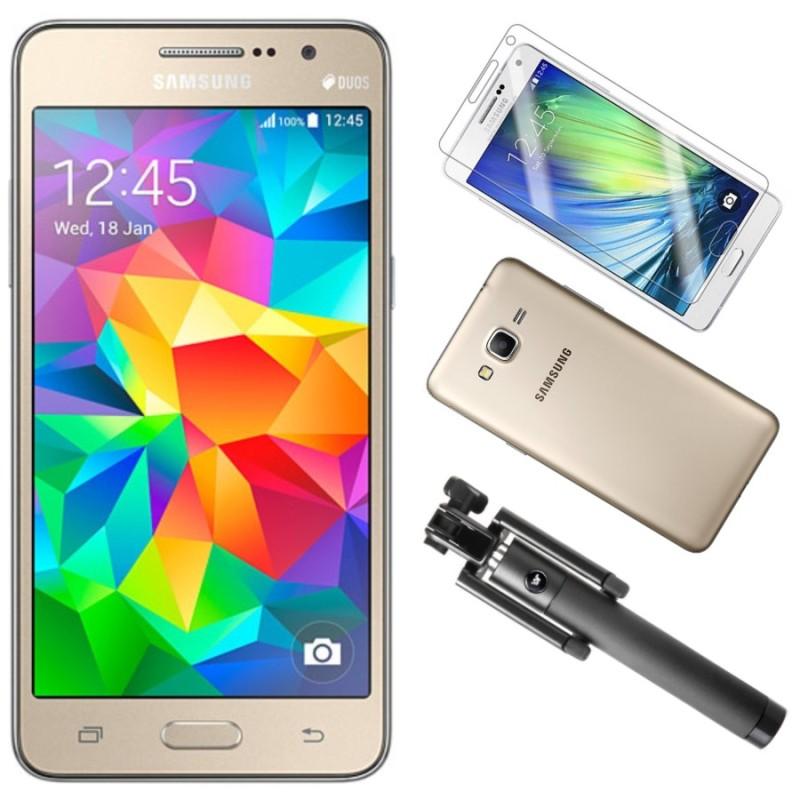 Bộ Samsung Galaxy Grand Prime G530 8GB (Vàng) - Hàng nhập khẩu + Gậy Chụp hình + Dán Cường Lực + Ốp Lưng