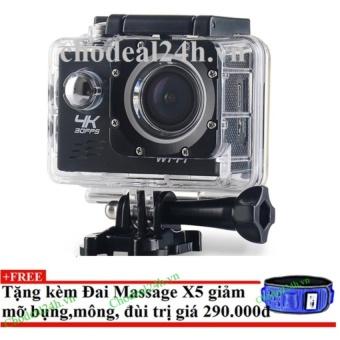 Camera hành động Waterproof ACTION CAMERA WIFI MultiPurpose 4K PLUS ULTRA HD (đen) + Tặng đai massage x5 giảm mỡ