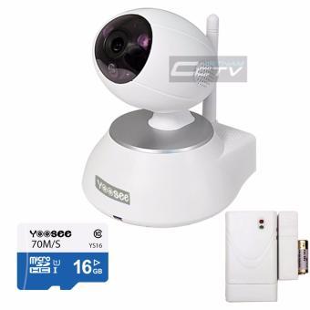 Camera IP Yoosee wifi YS1600 (Trắng) + thẻ nhớ 16GB tốc độ cao + cảm biến tách cửa