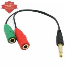 Cáp chia Audio 3.5mm ra mic và loa (Đen)