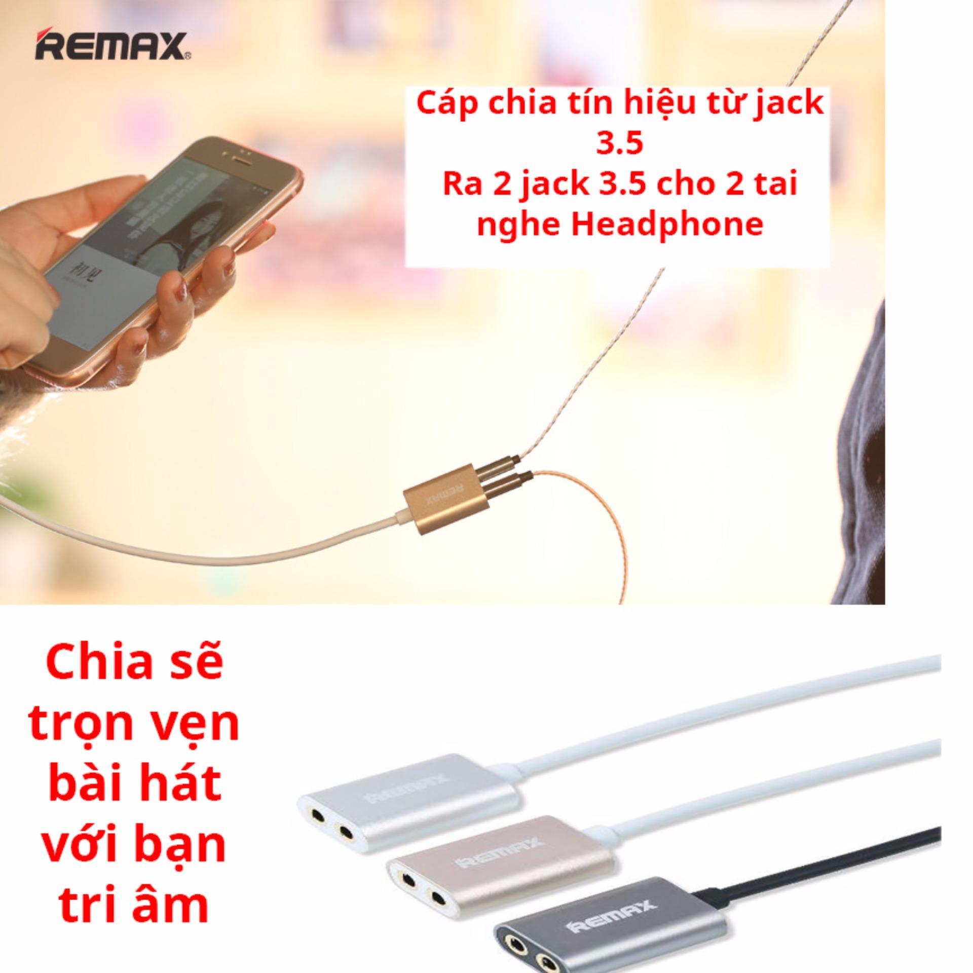 Khuyn Mi Hp Dn Cp Chia Tn Hiu M Thanh T 1 Ra 2 Jack 35 Remax Aux Audio Cable Rl 20s