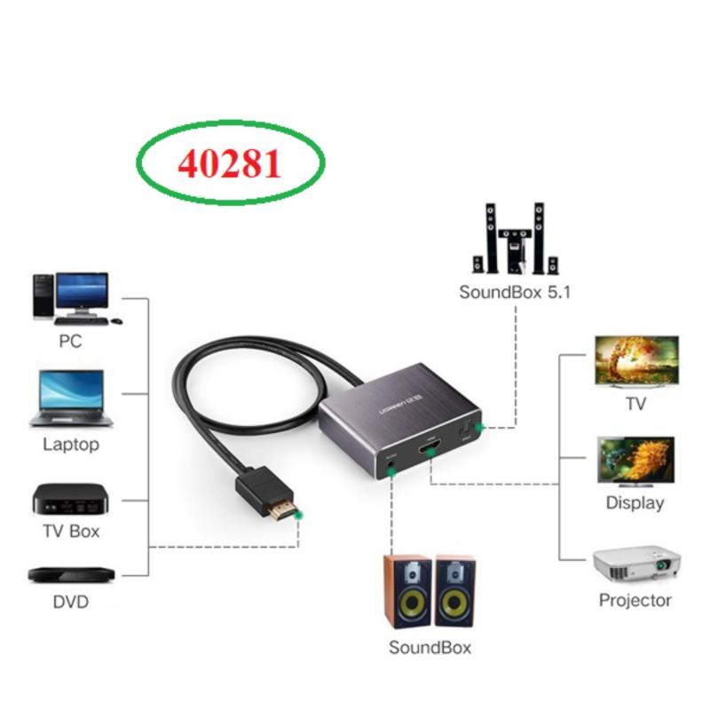 Bảng giá Cáp chuyển đổi HDMI to HDMI + Audio hỗ trợ cổng quang SPDIF 5.1 Ugreen UG-40281 Phong Vũ