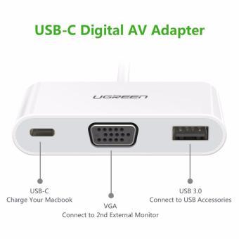 Cáp chuyển UGREEN USB Type C 3.1 sang USB 3.0 và VGA cho Macbook (30376)