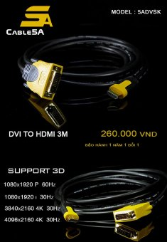 CÁP DVI TO HDMI 3M