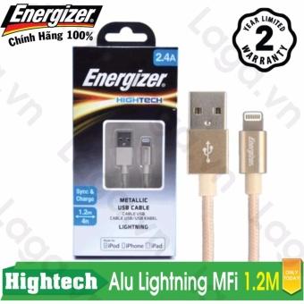 Cáp sạc cao cấp Energizer Lightning MFi Metallic Alu dài 1.2m - C13UBLIG