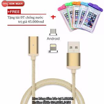 Cáp sạc từ hít nam châm 2in1 cho iPhone và Samsung + Free túi ĐT chống nước
