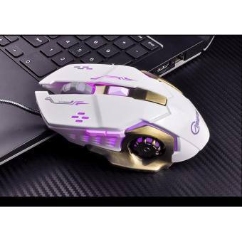 Chuột game thủ cực bền thiết kế độc lạ có LED nhiều màu (Trắngđồng)