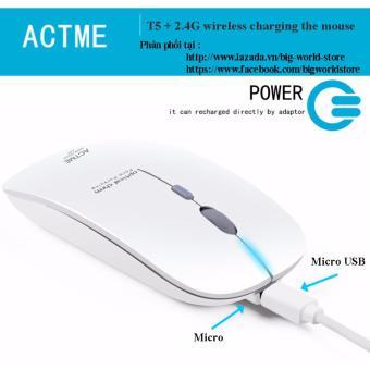 Chuột không dây sạc pin Actme T5 (Màu Xanh) - 4