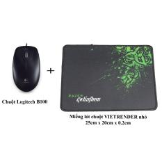 Chuột Logitech B100 + Miếng lót chuột VIETRENDER nhỏ