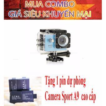 Combo Camera hành trình chuyên phượt 1080p (màu xanh) tặng kèm pin sạc dự phòng