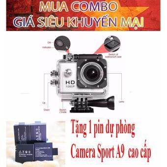 Combo Camera thể thao chuyên phượt Waterproof (màu bạc) tặng kèm pin sạc dự phòng