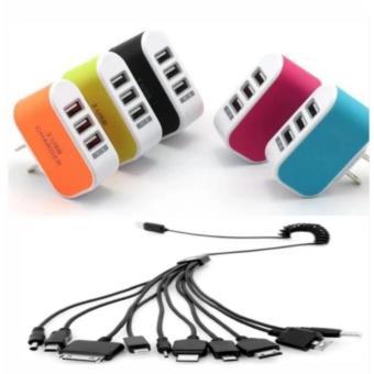 Cục sạc điện thoại đa năng 3 cổng USB +cáp sạc 10 đầu tiện ích