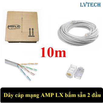 Dây cáp mạng AMPLX bấm sẵn 2 đầu 10m (Trắng)
