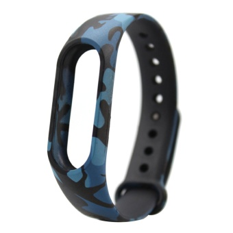 Fashion Silicone Printed Replacement Wristband Strap Bracelet SmartBand Accessories for Xiaomi Mi Band 2 Camouflage Style - intl