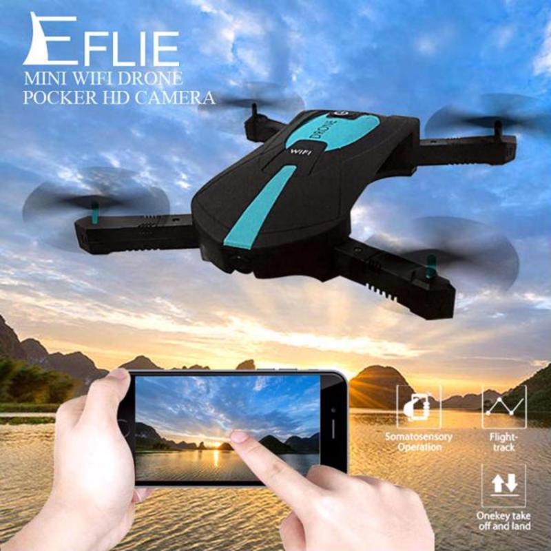 Flycam JY018 - Cánh gấp gọn, Camera FPV WIFI 720P, điều khiển điện thoại Ipad (Đen phối xanh)