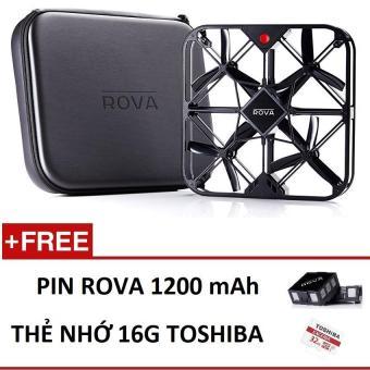Flycam mini Rova Camera 12 MP,Fullhd 60 fps kèm 2 pin,dock sạc usb ,kèm thẻ nhớ 16G - (Black)