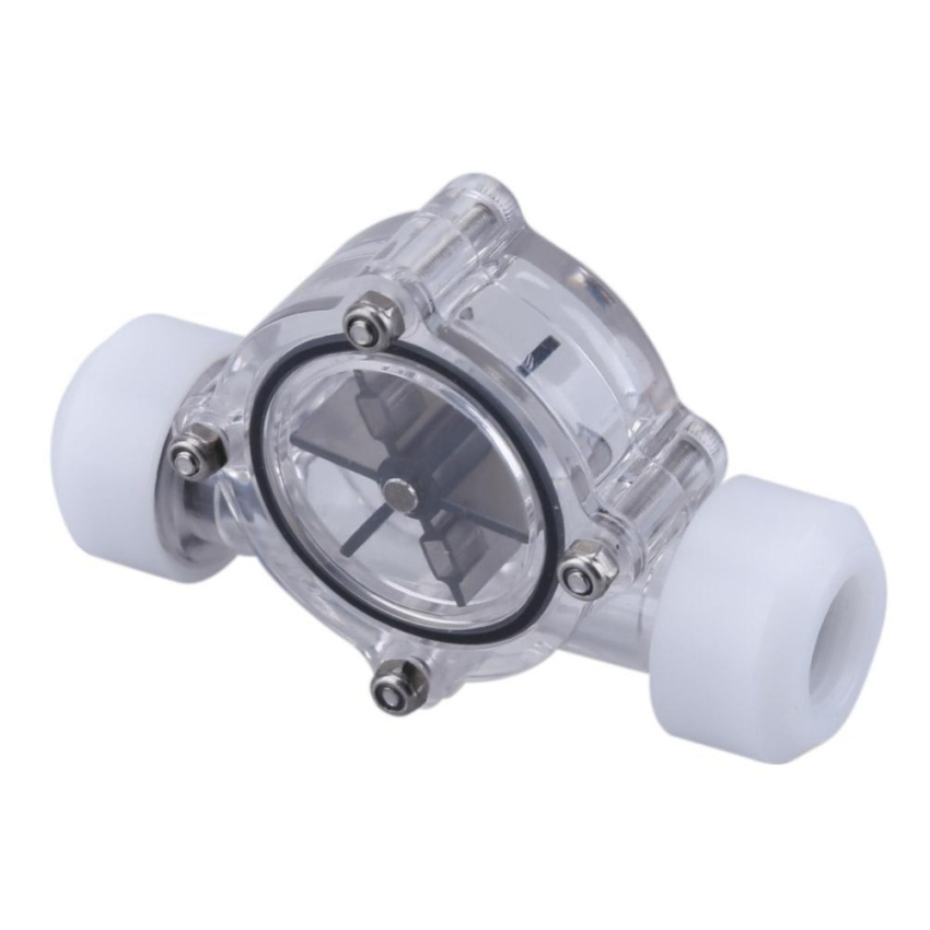 G1/4 Port Female to Female Flow Meter Indicator for PC Water Cooling System(White) - intl