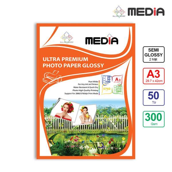 Bảng giá Giấy In Màu Media 2 Mặt Lụa (Semi Glossy) A3 (29.7 x 42cm) 300gsm 50 Tờ - Hàng Nhập Khẩu Phong Vũ