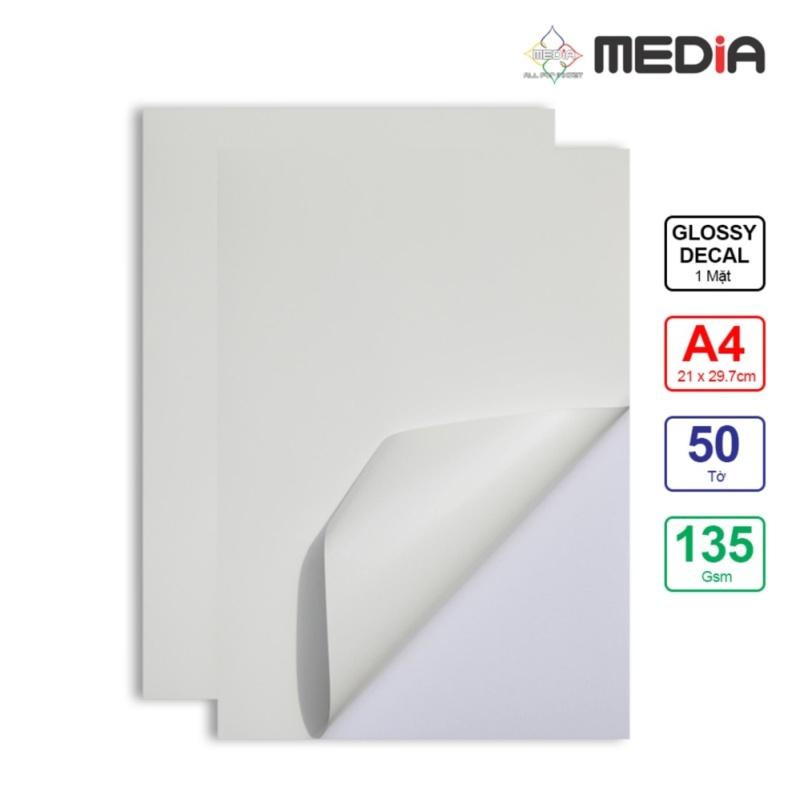 Giấy In Màu Nhãn Dán (Decal) Media 1 Mặt Bóng (Glossy) A4 (21x 29.7cm) 135gsm 50 Tờ