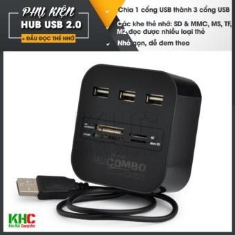 Hub chia 1 cổng USB thành 3 cổng kiêm đầu đọc thẻ nhớ (Đen)