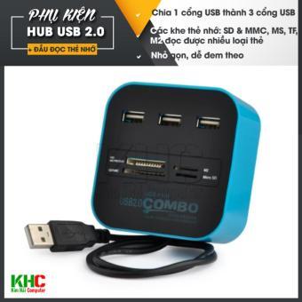 Hub chia 1 cổng USB thành 3 cổng kiêm đầu đọc thẻ nhớ (Xanh lam)