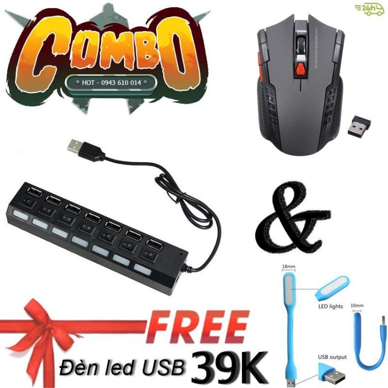 Bảng giá Hub Hub USB thành 7 cổng có công tắc và Chuột quang chơi GAME DPI-D6 N4ASHOP (Xám đen) + Tặng đèn LED USB trị giá 39K Phong Vũ