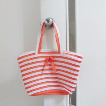 Túi xách dây kéo thời trang (Cam - Trắng)