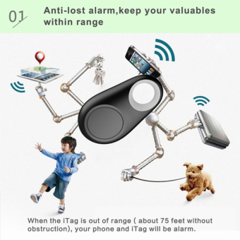 100% High Quality Bluetooth Anti-lost Tracker Wireless Tracker Child Bag Wallet Key Finder GPS Locator (Black )