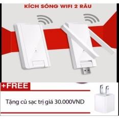 Kích Sóng Wifi 2 râu tặng cốc sạc